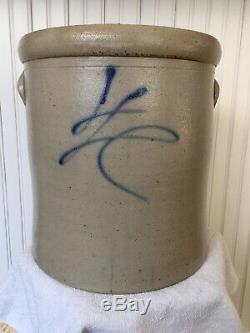 Antq. Salt Glaze Stoneware 4 Gal. Crock Signed In Cobalt Blue, Excellent