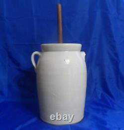 Atq Vtg Miller Bros. Alabama #4 Stoneware Glazed Crock Butter Churn with Lid