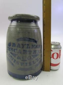 BAYLESS MCCARTHY Co. LOUISVILLE KY Stoneware Wax Seal Jar COBALT Greensboro PA