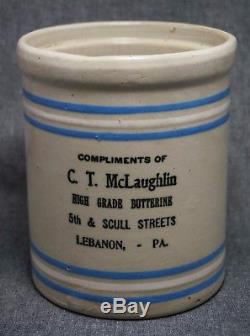 BUTTERINE Stoneware Crock C. T. McLaughlin LEBANON, PA Advertising Blue-White
