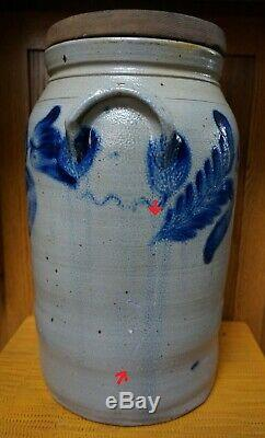 BUTTER CHURN 4 Gal. CROCK w- WOODEN LID Blue Decorated Stoneware Probably PA
