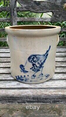 Beautiful Antique New York Stoneware 2 Gal. Decorated Cobalt Chicken Crock AAFA
