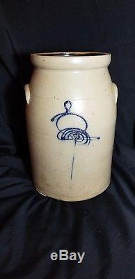 Bee Sting Crazy Eight Salt-Glazed Stoneware Butter Churn Crock Cobalt Glaze