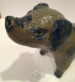 Billy Ray Hussey stoneware pig southern folk art blue decorated North Carolina