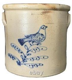 Blue Cobalt Decorated Stoneware Crock, Jones, Pittston, PA. Rare Bird Dec. AAFA