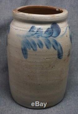 Blue Decorated Stoneware CROCK / PRESERVE JAR 10 1/4 Tall
