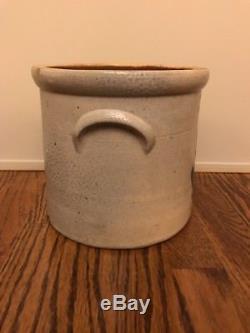 Brady & Ryan Ellenville NY Crock Stoneware Antique Cobalt Flower Design S