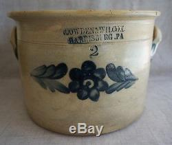 COWDEN & WILCOX 2 Gal. Blue Floral Decorated STONEWARE CROCK SIGNED 7 1/2