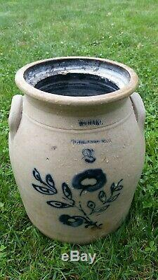 Ca. 1865 3-GALLON W. HART OGDENSBURG New York STONEWARE CROCK with COBALT FLOWERS