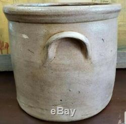 Circa 1870 Somerset Potters Works Salt Glaze Stoneware Crock with Blue Rose Motif