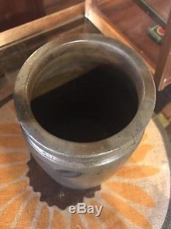 Circa 1870's Blue Decorated Stoneware Crock Jar 1 Gallon Shenandoah Valley