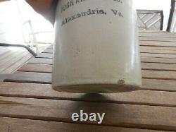 Circa 1910 1/2 gallon whiskey crock jug stoneware Ahern Alexandria Va Virginia