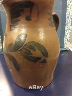 Cobalt Decorated Stoneware Pitcher By Black & Co. Somerfield PA
