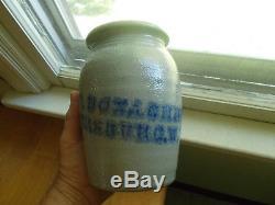 Cobalt Stencil Parkersburg, W. Va A. P. Donaghho Salt Glaze Stoneware Waxsealer Jar
