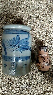 Decorated Pa stoneware crock and pitcher