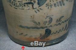 EAGLE POTTERY Blue Decorated Stoneware 5 Gallon CROCK James Hamilton & Co