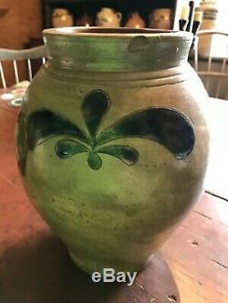 EARLY STONEWARE CROLIUS/REMMEY OYSTER JAR With 3 COBALT DECORATIONS