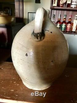 EXCEEDINGLY RARE 3 Or 4 GALLON DECORATED EARLY STONEWARE JUG by THOMAS COMMERAW