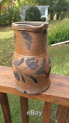 E. B. Hissong Cassville PA Half Gallon Decorated Stoneware Pitcher