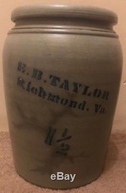 E. B. Taylor Richmond Va- Stoneware Pottery Crock Jug 1/2 gallon