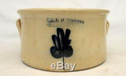 E & L. P. Norton Stoneware CAKE CROCK antique Cobalt Blue mark BENNINGTON VT