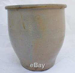 Early American Ovoid Stoneware 2 Gallon Crock with Cobalt Blue Decoration