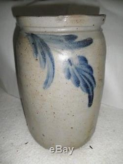 Early Antique Cobalt Blue and Gray Decorated Stoneware Jar 10 Tall