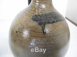Early Antique Primitive Ovoid Salt Glazed Crock Jug Stoneware With Cobalt Blue