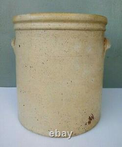 Early Antique Red Wing Cobalt Blue Leaf 4 Gallon Ear Handled Stoneware Crock
