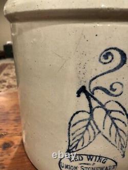 Early Antique Redwing 2 Gallon Saltglazed Stoneware Crock- Bottom Stamped-