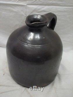 Early Stoneware Jug Slip Crock J. Fisher Lyons Ny Spout