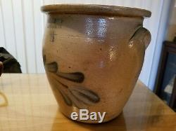 Evan B. Jones Pittston PA 1-1/2 Gallon Stoneware Salt Glaze Crock AS IS Hole