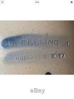 Extremely Rare Decorated Stoneware Jug J. A. Felsinger Rochester Ny Burger Lang