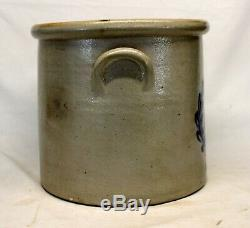 F B Norton & Co. Stoneware 4 GALLON CROCK Cobalt Blue WREATH Worcester MASS
