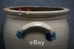 F. H. COWDEN, Harrisburg, PA Blue Decorated Stoneware 2 Gal. CROCK 9 3/4