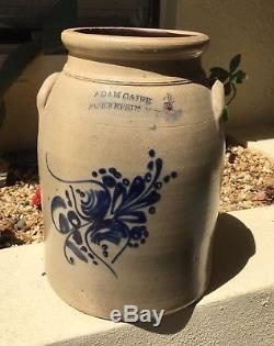 Fine Antq Large Salt Glaze Blue Cobalt Stoneware Crock Adam Caire Pokeepsie Ny