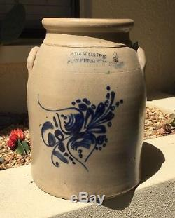 Fine Antq Large Salt Glaze Blue Cobalt Stoneware Crock Adam Oatre Pokeepsie Ny