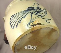 Fine Large Whites Utica Running Bird Stoneware Crock c. 1875