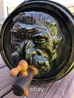 Folk Art Stoneware Cask Crock, Beer Keg, Bacchus, By John Nagel (1933-2016)