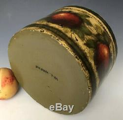Folk Art Tole Painted Stoneware Butter Crock with 6 Ompir Apples, Signed WC Wrede