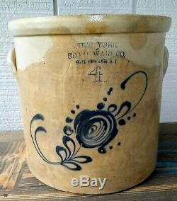 Fort Edwards NY Stoneware Crock, New York Stoneware Co, 4 Gal Salt Glaze