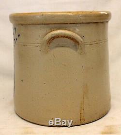 Frank B Norton & Sons Stoneware 2 Gallon CROCK antique Cobalt Blue WORCESTER MA
