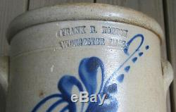 Frank B. Norton Worcester Mass Stoneware Crock with Blue Floral Design c 1848-1894