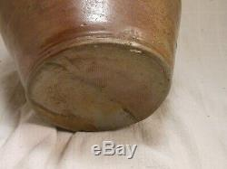 Great Antique Early American Ovoid Stoneware Jug With Cobalt Blue