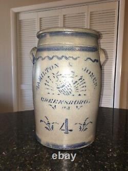 Hamilton Jones Greensboro PA Stoneware Cobalt Blue 4 Gal Churn 1880s Salt Crock