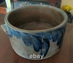 Henry Myers Baltimore MD Stoneware Cake Crock as is Rare Blue Decorated Signed