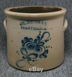 J. C. THOMAS Trenton, NJ FULPER Blue Decorated Stoneware 1 Gal. CROCK RARE