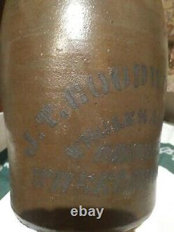 J. T. Goodwin DRUGGIST'S WHEELING WV Cobalt Advertising Stoneware Jug Crock