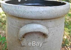 Jas. Benjamin Stoneware Depot, Zanesville OH, 4 gal Stenciled Butter Churn Crock