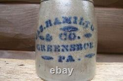 Jas. Hamilton & Co Greensboro PA Cobalt Decorated Stoneware Canning Jar or Crock